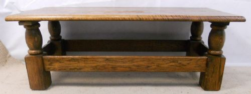Long, Solid Oak, Bulbous Leg Coffee Table